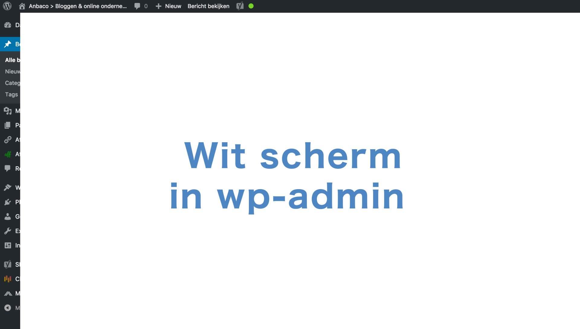 Wit scherm in WordPress - geen toegang tot wp-admin