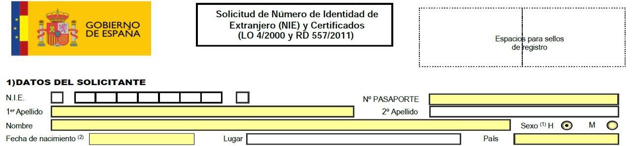 NIE nummer Spanje - bovenkant van aanvraagformulier